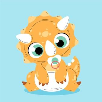 Bebê dinossauro plano ilustrado