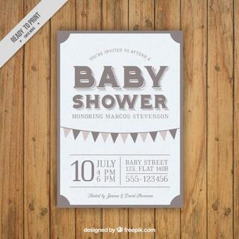 Bebê do vintage cartão do chuveiro