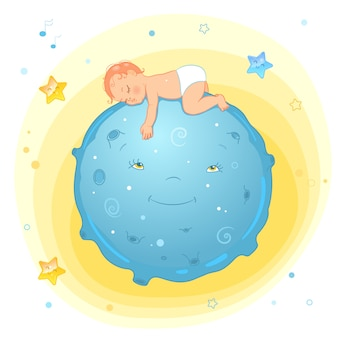 Bebê dormindo na lua. bebê realista dos desenhos animados na fralda.