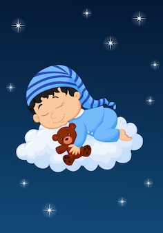 Bebê dormindo na nuvem