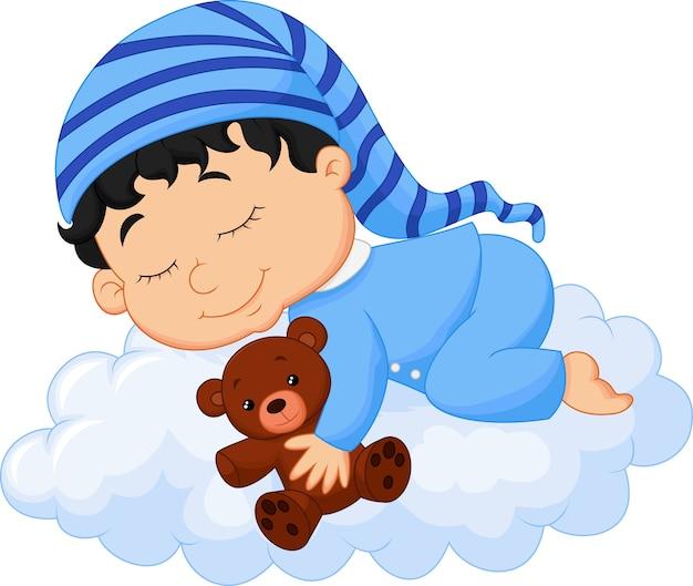 Bebê dormindo nuvem