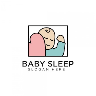 Bebê dormir design moderno bonito logotipo modelo premium estoque
