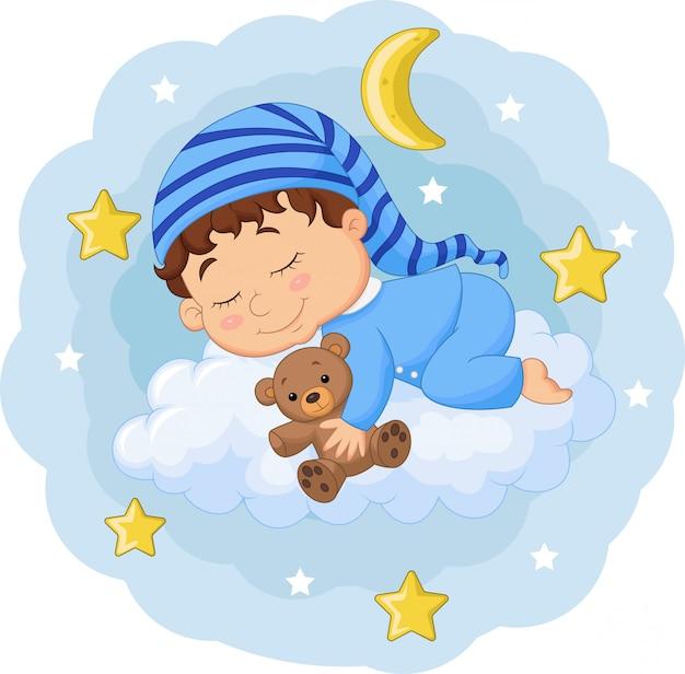 Bebê dos desenhos animados, dormindo com ursinho de pelúcia nas nuvens