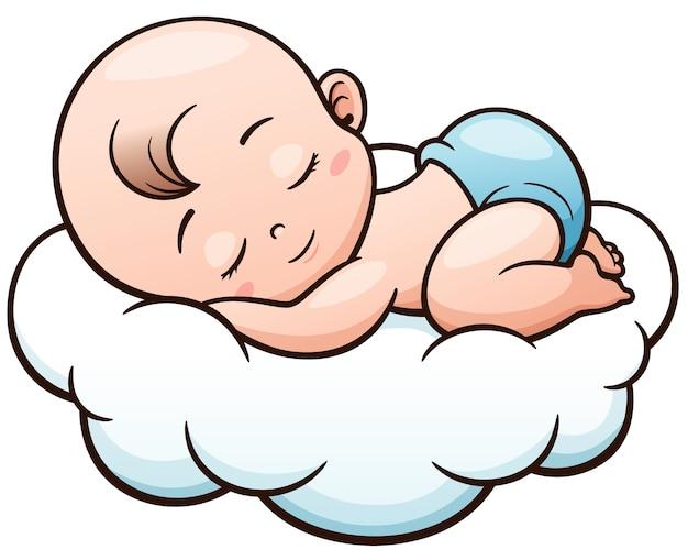Bebê dos desenhos animados, dormindo em uma nuvem