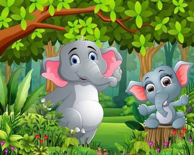 Bebê dos desenhos animados e elefante da mãe em uma natureza bonita