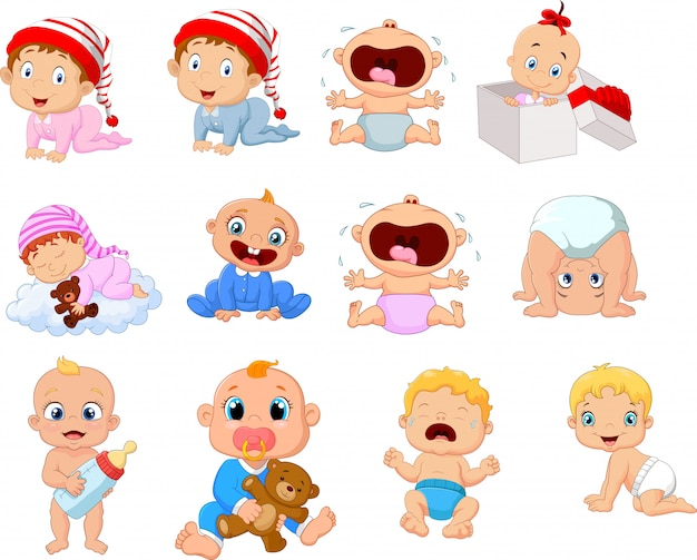 Bebê dos desenhos animados em diferentes expressões