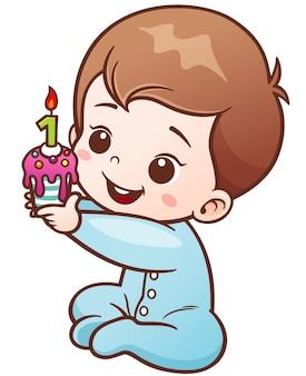 Bebê dos desenhos animados segurando um bolo de aniversário de um ano