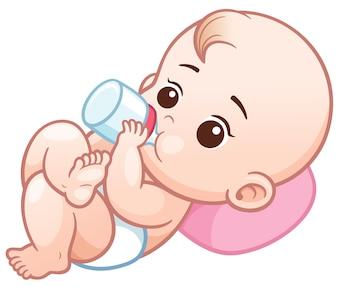 Bebê dos desenhos animados segurando uma garrafa de leite