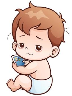 Bebê dos desenhos animados sentado jogar tabuletas