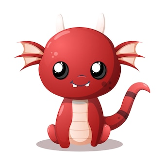 Bebê dragão vermelho fofo e sorridente