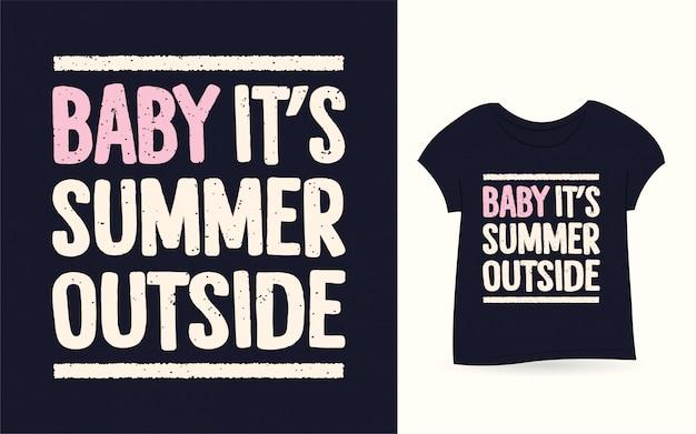Bebê é verão fora da tipografia camiseta