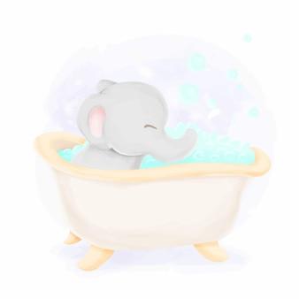 Bebê elefante banhando ilustração aquarela