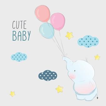 Bebê elefante brincando com balões
