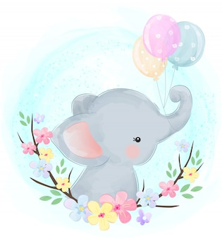 Bebê elefante com balões
