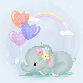 Bebê elefante e balões de amor Vetor Premium