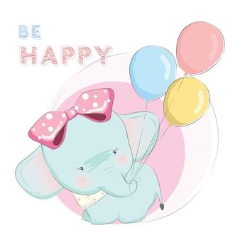 Bebê elefante está puxando os balões