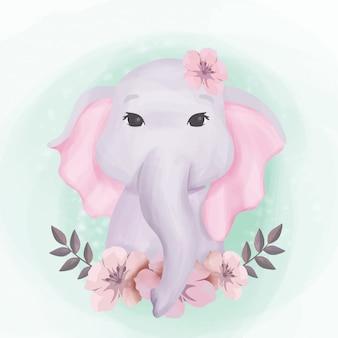 Bebê elefante fofo retrato ilustração