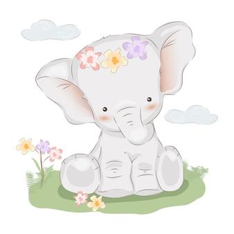 Bebê, elefante, ilustração