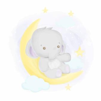Bebê elefante para a aquarela de lua