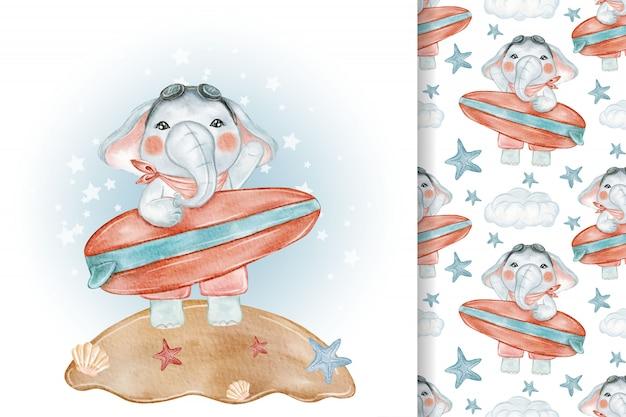 Bebê elefante praia surfando sem costura aquarela ilustração berçário