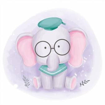 Bebê elefante pronto para a escola