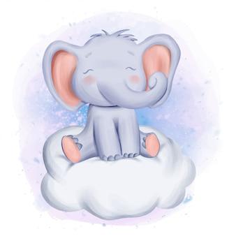 Bebê elefante sente-se na nuvem