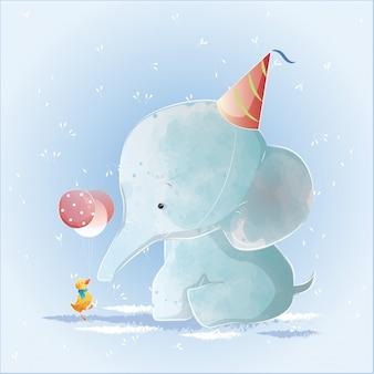 Bebê elefante tendo um aniversário