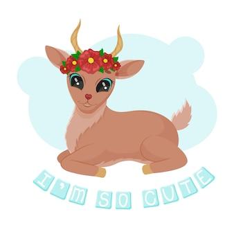 Bebê fofo antílope com uma coroa de flores.