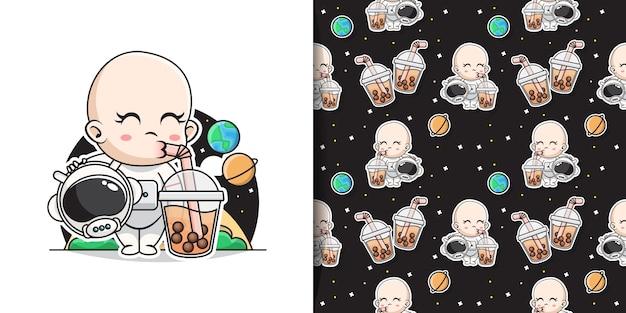 Bebê fofo astronauta bebendo chá de bolhas com padrão decorativo sem costura