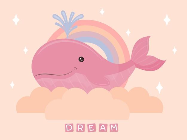Bebê fofo baleia na nuvem. personagem kawaii. ilustração em vetor crianças.