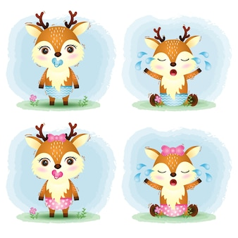 Bebê fofo coleção de cervos no estilo infantil