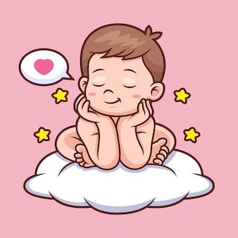 Bebê fofo com desenho em nuvem Vetor Premium