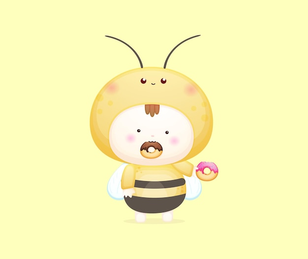 Bebê fofo com fantasia de abelha comendo ilustração vetorial de donut. ilustração de desenho de mascote premium vector