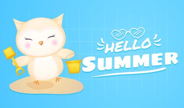 Bebê fofo coruja com banner de saudação de verão