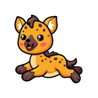 Bebê fofo desenho de hiena correndo