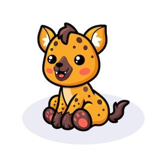 Bebê fofo desenho de hiena sentada