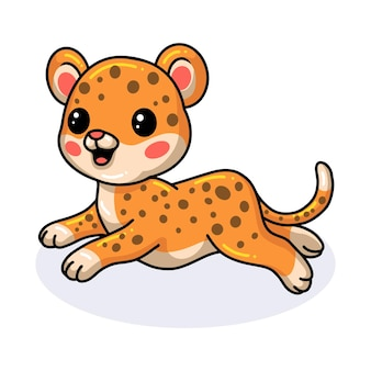 Bebê fofo desenho de leopardo correndo