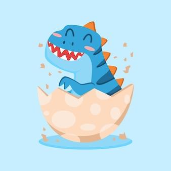 Bebê fofo dinossauro em design plano de ilustração de desenho animado com casca de ovo