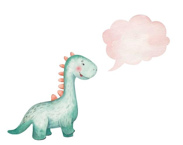 Bebê fofo dinossauro verde sorrindo e ícone do pensamento, nuvem, aquarela de ilustração infantil