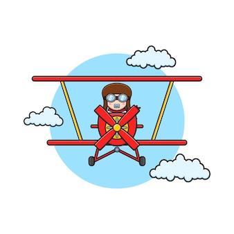 Bebê fofo dirigindo a ilustração do ícone dos desenhos animados de avião aero. projeto isolado estilo cartoon plana