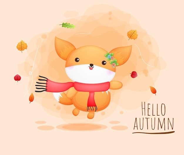 Bebê fofo e feliz raposa personagem de desenho animado outono