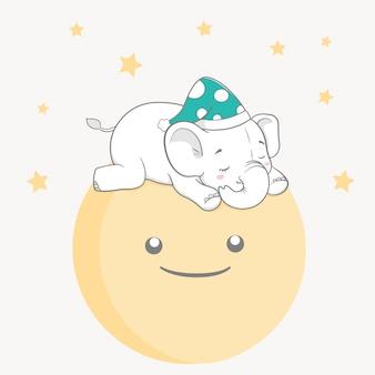 Bebê fofo elefante dormir na lua