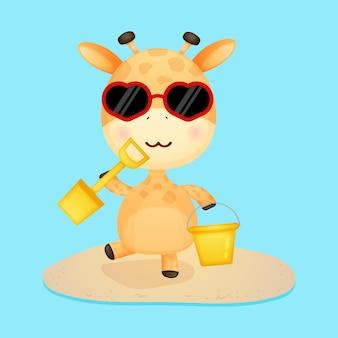 Bebê fofo girafa desenho de verão