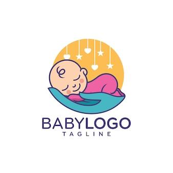 Bebê fofo logo design vector