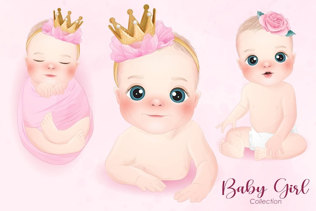 Bebê fofo na coleção estilo aquarela