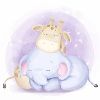 Bebê fofo nascido elefante e girafa dormir