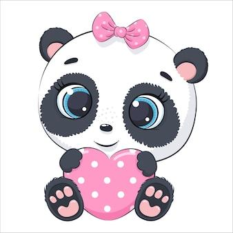 Bebê fofo panda com um coração. ilustração do vetor dos desenhos animados.