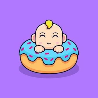 Bebê fofo pop-up de donuts isolado em roxo