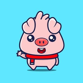 Bebê fofo porco personagem acenando