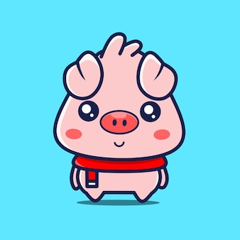 Bebê fofo porco personagem com lenço vermelho